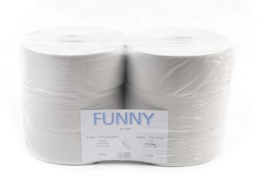 Funny Jumbo - Toilettenpapier 2 lagig Recycling weiß, Durchmesser circa 25 cm, 1er Pack (1 x 6 Stück)