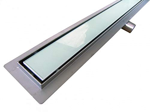 Edelstahl-Duschrinne GL02 für Duschkabine - Ablaufblende Glas weiß - Länge wählbar, Länge Duschrinne:1000mm