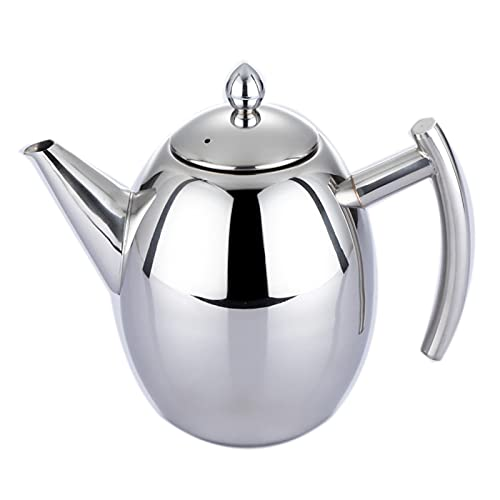 DTKJ Stainless Steel Tea Pot with Removable Infuser for Loose Leaf and Tea Bags, Dishwasher Safe and Heat Resistant, 1.5 Liter( Silver )
