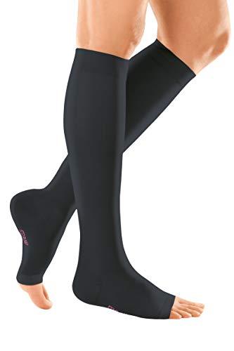 medi mediven elegance - 024B504 Knielange Damen Kompressionsstrümpfe mit offener Spitze | CCL2 | Noppen-Haftband | Schwarz | Gr. IV kurz