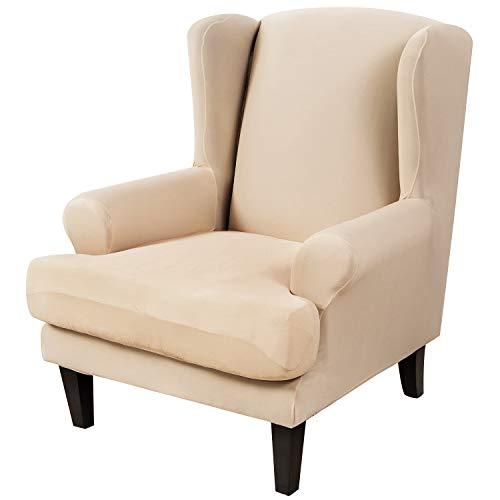 SearchI Ohrensessel Schonbezug Elastische Sesselbezug Sesselüberwurf Stretch Schutzhülle Weich Überzug Sofabezug Sessel Husse für Ohrensessel(Polyester-Beige)