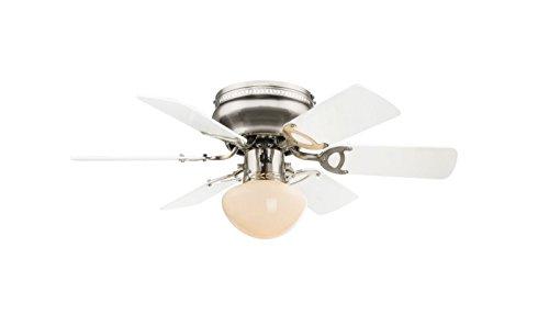 Deckenventilator mit Beleuchtung Leise Zugschalter Deckenleuchte mit Ventilator (3 Stufen, Deckenlampe, 76 cm, Rechts Links Lauf, Weiß Anthrazit)