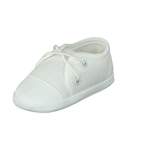 Babyschuhe Taufschuhe Lauflernschuhe Kinderschuhe Krabbelschuhe, Festliche Baby Schuhe, Jeansstoff, Weiß, Gr.- 18 EU/Herstellergröße- 11