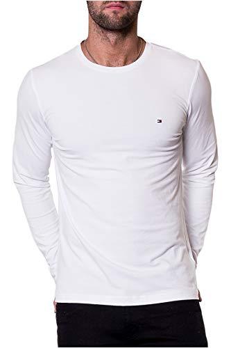 Tommy Jeans Original Rib Maglietta a Maniche Lunghe, Bianco (Classic White 100), S Uomo