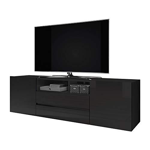 Selsey Bros - Mueble TV Minimalista/Mesa TV/Mueble para Salón/Mueble TV Moderno (sin LED, Negro Mate/Negro Brillante)