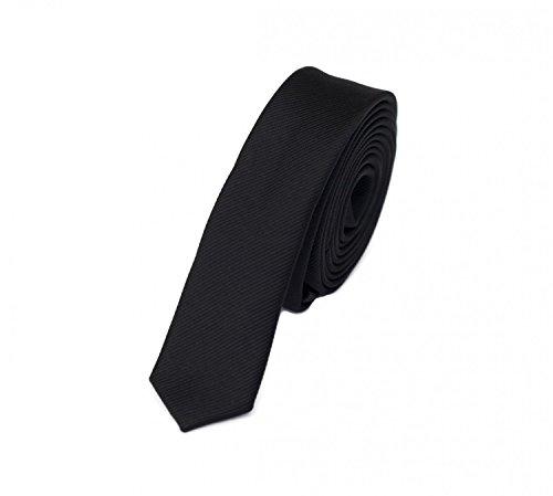 Fabio Farini - Elegante Herren Krawatte unifarben in 3cm Breite in verschiedenen Farben für jeden Anlass wie Hochzeit, Konfirmation, Abschlussball Schwarz
