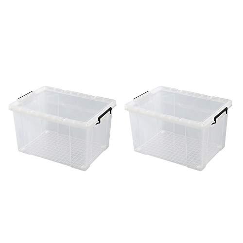 XTXY Cajas De Almacenamiento De 50l Paquete De 2, Caja De Transporte Tapa Segura Mango Fuerte Recipiente De Plástico Transparente Clip Negro (Size : 48 * 33.5 * 28.5cm)