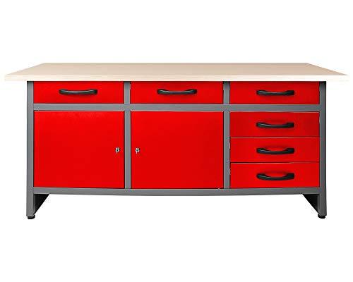 Ondis24 Werkbank rot Werktisch Packtisch 6 Schubladen Werkstatteinrichtung 160 x 60 cm Arbeitshöhe 85 cm