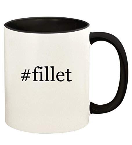 #fillet - 11oz Hashtag Ceramic Colored Handle and Inside Coffee Mug Cup, Black