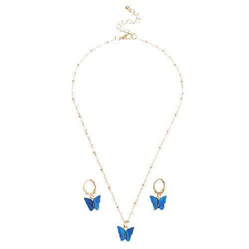 THESHYER Temperamento Mariposa Colgante Collar Mujer Multicolor Mariposa Collar Pendiente Conjunto Dulce Señora Temperamento Mariposa pequeña Accesorios de joyería Conjunto de tres piezas