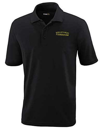 Custom Performance Golf Tees Worlds Best Fisherman Embroidery Polyester Short Sleeves Polo Shirts for Men Black Design Only Medium