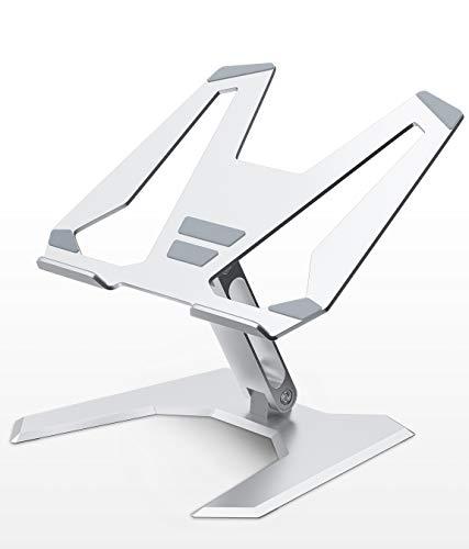 SOUNDANCE Laptop Stand, Height Adjustable Notebook Riser, Foldable Ergonomic Computer Desktop Holder for Desk, Aluminum Laptop Elevator, PC Cooling Mount Support 10 - 17 Inches Notebook, Sliver