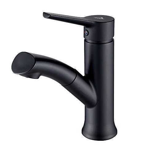 Auralum schwarz Badarmatur mit herausziehbarer, Waschbeckenarmatur Waschtischarmatur aus Messing, Einhandmischer Brause fürs Bad