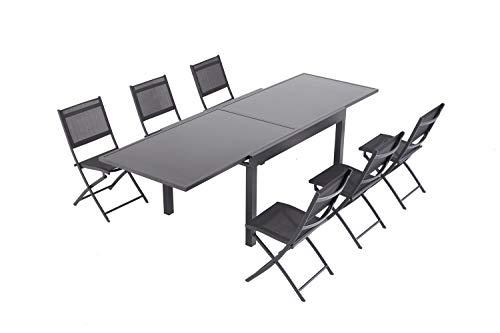 Laxllent Sitzgruppe Alu Gartenmöbel-Sets,Tisch mit 6 Klappstuhl, Alu Tisch mit Sicherheitsglas,Schwarz