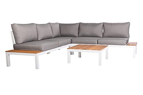 OUTLIV. Loungeecke aus Aluminium/Akazie/Polster Sitzecke in Weiß/Teaklook/Grau Outdoor Gartenlounge Set