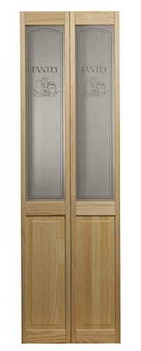 LTL Home Products 864730 Pantry Half Glass Bifold Interior Wood Door, 36' x 80', 36 Inches x 80 Inches, Unfinished Pine