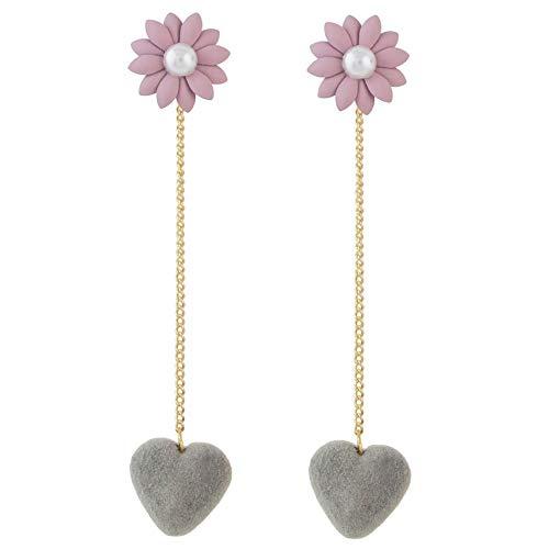 Dongdaemun lindo terciopelo melocotón corazón pendientes largos de flores pendientes de moda simple joyería-gris