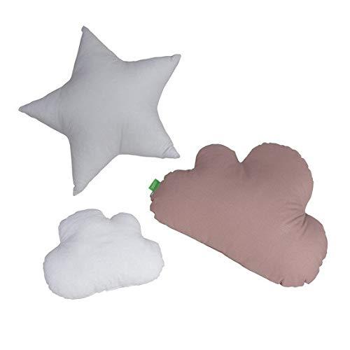 Lulando Kissen Wolken und Sterne 3 Stück Sternchen Zierkissen wolken Kinderzimmer Zimmer Deko Sternkissen Baby Dekokissen mit Füllung für Schlafzimmer Babyzimmer Kinderbett SET (Basic)