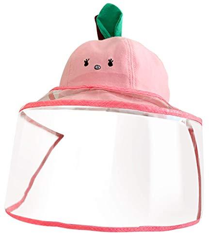 Keleily Sombrero Protector Bebe con Pantalla de Protección Facial, Sombrero Protector Facial Niños Sombrero Protector de Pescador para Exteriores, Prueba de Polvo, Prueba de Viento, Rosa