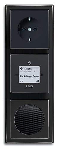 Busch Jäger inbouw UP WLAN iNet internetradio 8216 U (8216U) antraciet complete set luidspreker + 20EUC-81 stopcontact + radio-eenheid + 3-voudig frame horizontaal of verticaal plaatsing vrij te kiezen