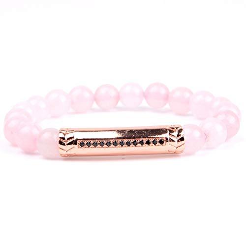 DLIAAN Armbanden Natuurlijke Steen Roze Agaat Kralen Armband Mannen Boho Rose Gold Tube Bedel Armbanden & Bangles Voor Vrouwen Vriendschap Sieraden