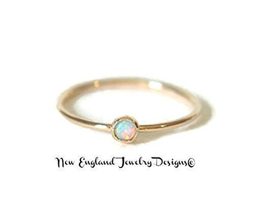 Yellow Gold White Fire Opal Stacking Ring 14K Gold Filled Skinny 1MM Thin Band