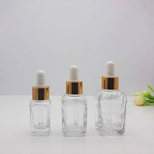 QHKS 10ml 30ml Flacon Compte-Gouttes Ambre Huile Essentielle de Verre aromathérapie Liquide Brun (Color : Gold Cover, Size : 30ml)
