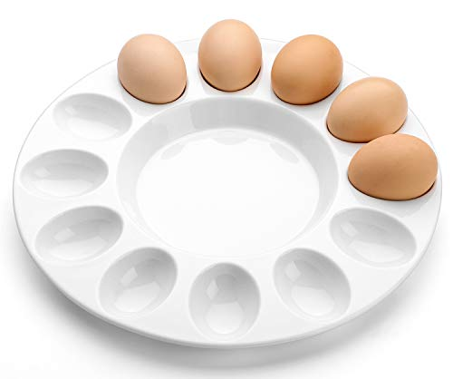 DOWAN 10 Inches Porcelain Deviled Egg Dish, Egg Platter for 12 Eggs, Round and White