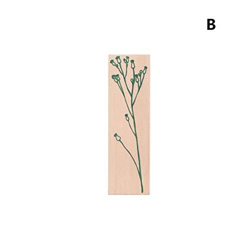 1 PC DIY Artisanat Fleur Plante Vintage En Bois Timbre En Caoutchouc pour Scrapbooking Papeterie Peinture Cartes Décor, 2