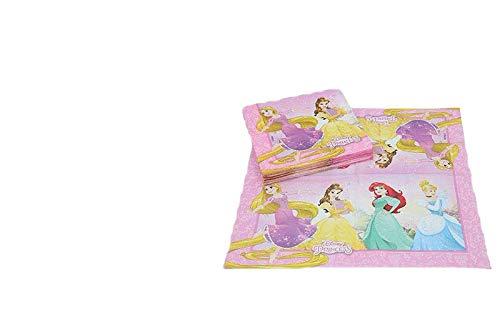 ALMACENESADAN 2689; Pack 20 servilletas de Papel Disney Princesas ; Producto de Papel; Ideal para Fiestas y cumpleaños; Dimensiones doblada en 4 (16,5x16,5 cm)