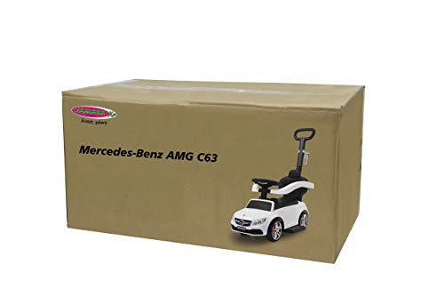 JAMARA 460448 - Rutscher Mercedes-AMG C 63 3in1-Kippschutz, Kofferraum, Schub-und Haltestange mit Lenkfunktion, Rückenlehne, Schutzbügel, ausziehbare Fußauflage, Sound/Hupe am Lenkrad, weiß