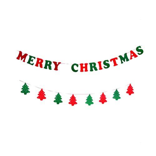 Amosfun 2 stks Vrolijk Kerstmis Banner Niet-geweven Stof Kerstboom Bunting Garland Trek Vlag Ophangen Ornament voor Feestelijke Nieuwjaar Party