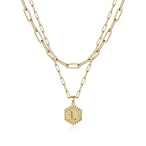 M MOOHAM Dainty Layered Initial Necklaces for Women, 14K Gold Plated Paperclip Chain Necklace Simple Cute Hexagon Letter Pendant Initial Choker Necklace Gold Layered Necklaces for Women gold
