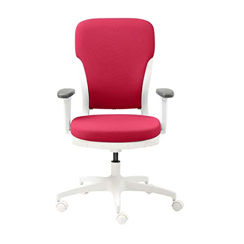 GODREJ INTERIO Plastic Adjustable Armrest Motion High Back Office Chair, Milan Red with White Body