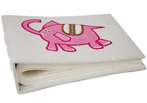 Life Arts Album Photo en 100% Coton Fait à la Main Petit Éléphant, Format Mini Rose