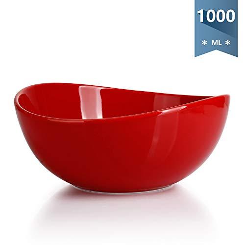 Sweese 104.004 Salatschüssel aus Porzellan, 1000 ml, Verwenden Sie als Salatschale, Müslischale, Suppenschale, Rührschale, Servierschale, Rot