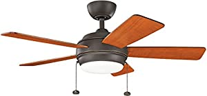 "Kichler 300173NI, Starkk Brushed Nickel 52"" Ceiling Fan with..."