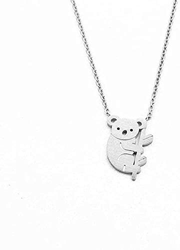 NONGYEYH co.,ltd Encantadores Collares con Colgante de Oso Koala para Mujer, Cadena Larga de Acero Inoxidable Dorado y Plateado, Collar con Colgante Femenino, Regalo de joyería