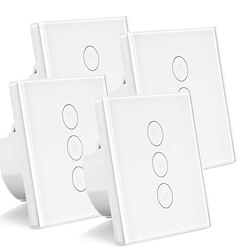 ALLOMN 4 Pack Smart Dimmer Schalter WLAN Berühren Lichtschalter Arbeit mit Alexa/Google Home/IFTTT/APP Fernbedienung, Timing Funktion, 2.4GHz Netzwerk (Neutralleitung Erforderlich)
