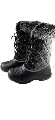 Botas 2K para Nieve, Descansos Invierno Mujer, Botín Forrado - Color Negro y Plata - Talla 37