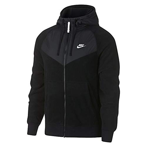 Nike Men's Sportswear Full Zip Hoodie Black/White Size Medium