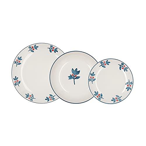 Bidasoa Toscana Vajilla Completa 18 piezas en gres, 6 platos llanos, 6 platos hondos, 6 platos postre