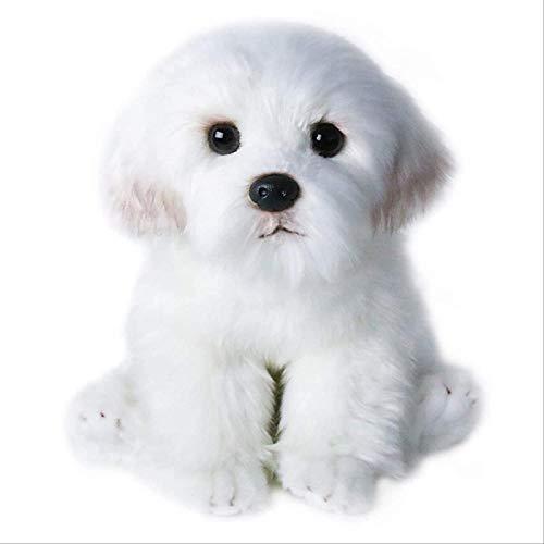 siyat EIN Netter weißer Plüsch ausgestopfter Hund Plüschtier-Spielzeug-Simulation Haustier flaumig Puppe-Geburtstagskind-Geschenk-Kauf von 26 cm Jikasifa
