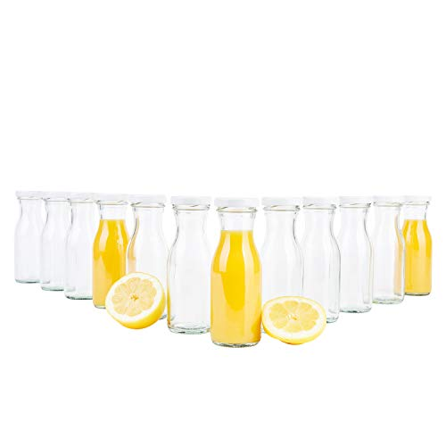 MamboCat 12er Set Saftflasche 150 ml + Twist-Off Deckel TO43 weiß I Karaffe I Deko-Vasen I Vorratsglas klein I Trinkflaschen I Schüttdosen I Aufbewahrungsgläser