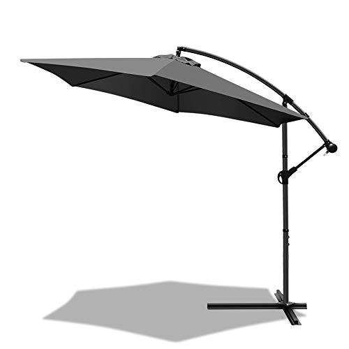 VOUNOT Ampelschirm 300 cm, Sonnenschirm mit Kurbelvorrichtung, Kurbelschirm mit Schutzhülle, Sonnenschutz UV-Schutz, Grau