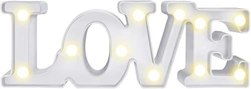 LOVE Lámpara de Mesa, Luz Love con Luces LED Lámpara de Tabla Lámpara de Noche Lámparas decorativas para Navidad de fiesta de Sala de Hogar Decoración de Pared - LOVE (Blanco)