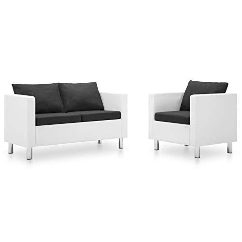 FAMIROSA Set de sofás de 2 Piezas Cuero sintético Blanco y Gris oscuro-5515