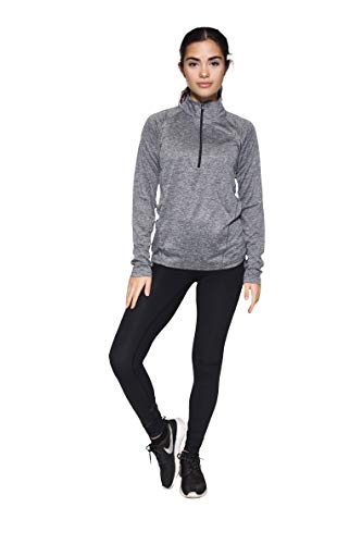 3 Pack: Womens Quarter 1/4 Zip Pullover Long Sleeve Shirt Quick Dry Dri Fit Yoga 1/2 Zip Athletic Ladies Active Wear Gym Workout Zumba Exercise Running,Set 2-L