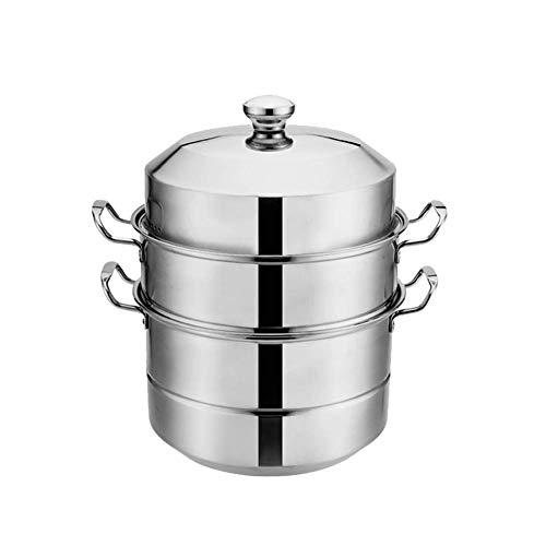 Cuiseur vapeur alimentaire, en acier inoxydable, 3 couches – Méthode de cuisson saine des légumes – Poignée en acier robuste – Structure à 3 couches Moderne 38CM couleur