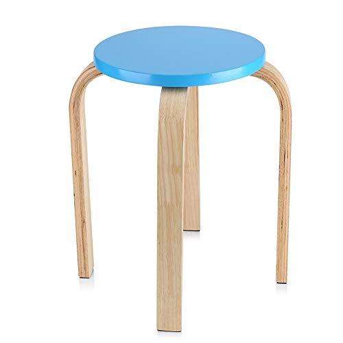 Möbel 1-teiliger Runder Holzhocker, Rutschfester Gebogener Holzstapelhocker Candy Color Chair Mit 4 Beinen, 40 X 45,5 cm SCHUHREGALE